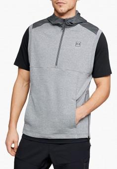 Жилет спортивный, Under Armour, цвет: серый. Артикул: UN001EMGPWN1. Одежда / Толстовки и олимпийки / Худи