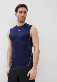 Майка спортивная, Under Armour, цвет: синий. Артикул: UN001EMOJH31. Одежда / Майки