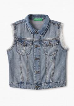 Жилет джинсовый, United Colors of Benetton, цвет: синий. Артикул: UN012EGHYCZ7.