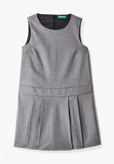 Платье, United Colors of Benetton, цвет: серый. Артикул: UN012EGJZMI4. Девочкам / Одежда / Платья и сарафаны