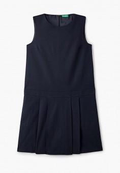 Платье, United Colors of Benetton, цвет: синий. Артикул: UN012EGJZMI5. Девочкам / Одежда / Платья и сарафаны