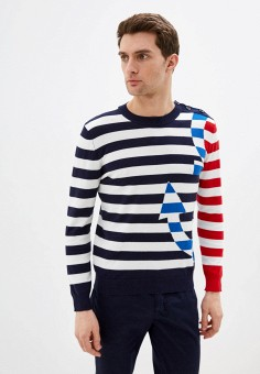Джемпер, United Colors of Benetton, цвет: синий. Артикул: UN012EMHWZY7. Одежда / Джемперы, свитеры и кардиганы / Джемперы и пуловеры