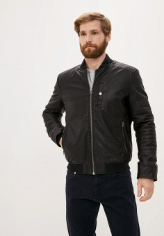 Куртка кожаная, United Colors of Benetton, цвет: черный. Артикул: UN012EMJZHX8. Одежда / Верхняя одежда / Кожаные куртки