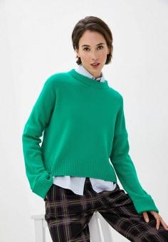 Джемпер, United Colors of Benetton, цвет: зеленый. Артикул: UN012EWJZDU8. Одежда / Джемперы, свитеры и кардиганы / Джемперы и пуловеры / Джемперы