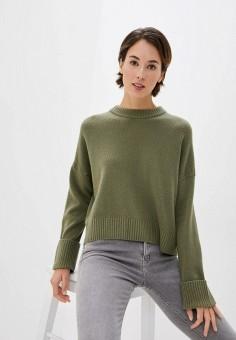 Джемпер, United Colors of Benetton, цвет: хаки. Артикул: UN012EWJZDV0. Одежда / Джемперы, свитеры и кардиганы / Джемперы и пуловеры