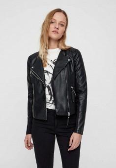 Куртка кожаная, Vero Moda, цвет: черный. Артикул: VE389EWDLXC4. Одежда / Верхняя одежда