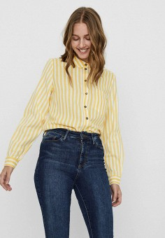 Рубашка, Vero Moda, цвет: желтый. Артикул: VE389EWHJEM5. Одежда / Блузы и рубашки / Рубашки