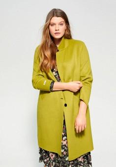 Пальто, Violeta by Mango, цвет: зеленый. Артикул: VI005EWIEFM4.