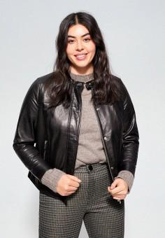 Куртка кожаная, Violeta by Mango, цвет: черный. Артикул: VI005EWIIQA3. Одежда / Верхняя одежда / Кожаные куртки