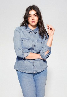 Рубашка джинсовая, Violeta by Mango, цвет: синий. Артикул: VI005EWIJNR4. Одежда / Блузы и рубашки