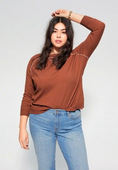 Джемпер, Violeta by Mango, цвет: коричневый. Артикул: VI005EWIUWQ7. Одежда / Джемперы, свитеры и кардиганы / Джемперы и пуловеры / Джемперы