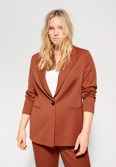 Пиджак, Violeta by Mango, цвет: коричневый. Артикул: VI005EWIUWR9. Одежда / Пиджаки и костюмы