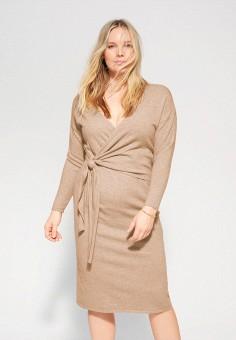 Платье, Violeta by Mango, цвет: бежевый. Артикул: VI005EWIUWW1.