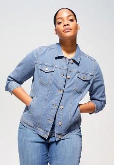 Куртка джинсовая, Violeta by Mango, цвет: синий. Артикул: VI005EWIUYU9. Одежда / Одежда больших размеров
