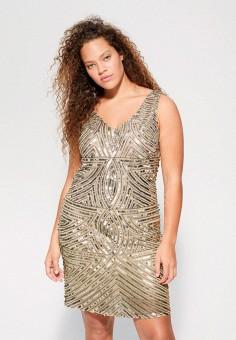 Платье, Violeta by Mango, цвет: золотой. Артикул: VI005EWJGXO1. Одежда / Платья и сарафаны / Вечерние платья