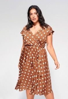 Платье, Violeta by Mango, цвет: коричневый. Артикул: VI005EWJGXO6. Одежда / Платья и сарафаны