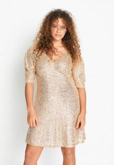 Платье, Violeta by Mango, цвет: золотой. Артикул: VI005EWJKLN9. Одежда / Платья и сарафаны / Вечерние платья