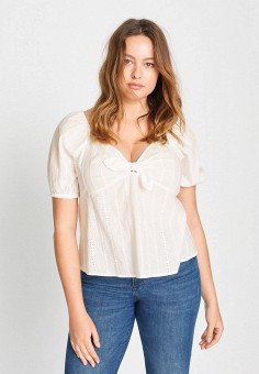 Блуза, Violeta by Mango, цвет: белый. Артикул: VI005EWJYRB0. Одежда / Блузы и рубашки / Блузы