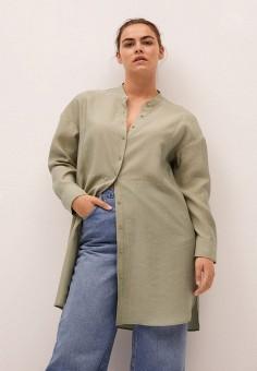Блуза, Violeta by Mango, цвет: хаки. Артикул: VI005EWKEWX1. Одежда / Туники