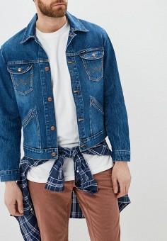 Куртка джинсовая, Wrangler, цвет: синий. Артикул: WR224EMDGGC5. Одежда / Верхняя одежда / Джинсовые куртки