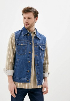 Жилет джинсовый, Wrangler, цвет: синий. Артикул: WR224EMHYJI8. Одежда / Верхняя одежда / Жилеты