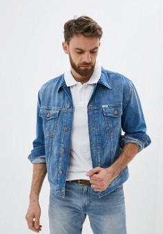 Куртка джинсовая, Wrangler, цвет: синий. Артикул: WR224EMJOQF5.