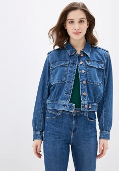 Куртка джинсовая, Wrangler, цвет: синий. Артикул: WR224EWHYBN8.