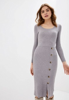 Платье, Zarina, цвет: серый. Артикул: ZA004EWHZOZ8.