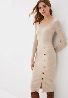 Платье, Zarina, цвет: бежевый. Артикул: ZA004EWHZOZ9.