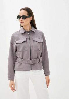 Куртка кожаная, Zarina, цвет: серый. Артикул: ZA004EWJEFP2.
