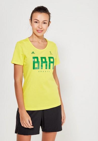 Купить Футболка спортивная adidas - цвет: желтый, Пакистан, AD002EWALUW1