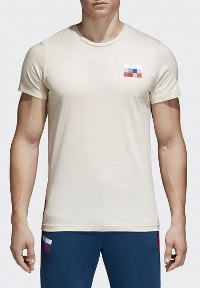 Купить Футболка adidas - цвет: бежевый, Китай, AD002EMALUM0