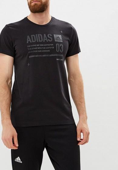 Купить Футболка спортивная adidas - цвет: черный, Турция, AD002EMCDGW3