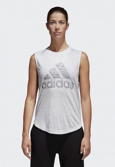 Купить Майка спортивная adidas - цвет: белый, Вьетнам, AD002EWCDHH4