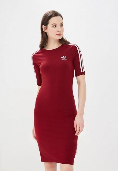 Купить Платье adidas Originals - цвет: бордовый, Пакистан, AD093EWALPC7