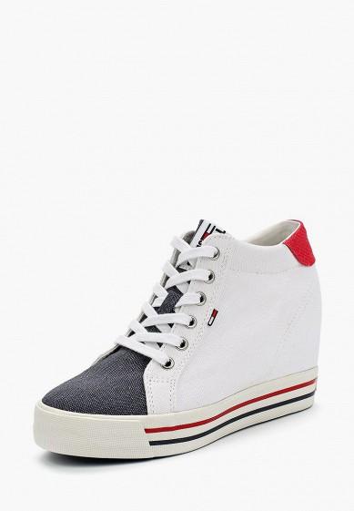 Купить Кеды на танкетке Tommy Jeans - цвет: белый, Вьетнам, TO052AWAGAT6