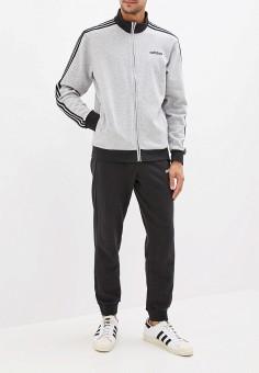 2cf185c767f291 Костюм спортивный, adidas, цвет: серый, черный. Артикул: AD002EMFWTR6.  Одежда