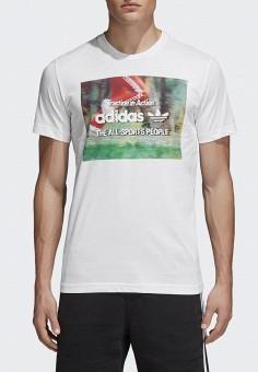 Футболка, adidas Originals, цвет  белый. Артикул  AD093EMALOE6. Одежда    Футболки d25c03cda01