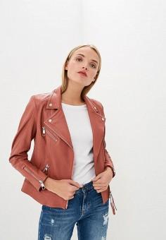 Куртка кожаная, Boss Hugo Boss, цвет: розовый. Артикул: BO010EWBUKG3.