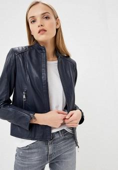 Куртка кожаная, Boss Hugo Boss, цвет: синий. Артикул: BO010EWDBNS1.