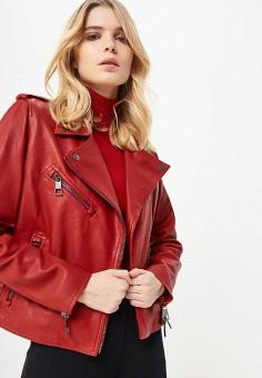 Куртка кожаная, Boss Hugo Boss, цвет: красный. Артикул: BO010EWDCVS1.