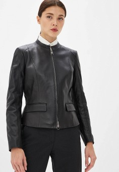 39129c189 Куртка кожаная, Boss Hugo Boss, цвет: черный. Артикул: BO010EWFDMF3. Одежда