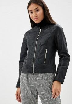 Куртка кожаная, b.young, цвет  черный. Артикул  BY005EWBUWO6. Одежда 9316d5e4342