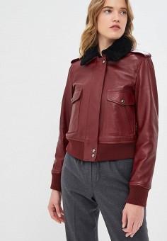 Куртка кожаная, Calvin Klein, цвет: бордовый. Артикул: CA105EWCOKE7.