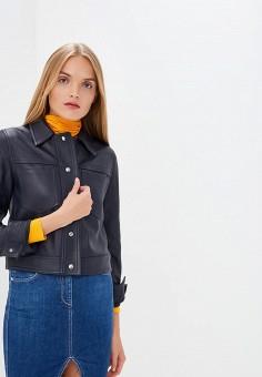 Куртка кожаная, Calvin Klein, цвет: синий. Артикул: CA105EWCOKE8.