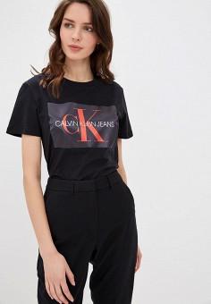 Футболка, Calvin Klein Jeans, цвет  черный. Артикул  CA939EWDUEY1. Одежда 77683b0bf27