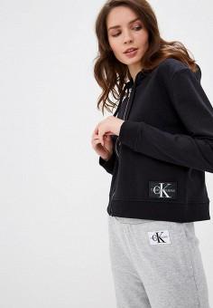 64f00891 Толстовка, Calvin Klein Jeans, цвет: черный. Артикул: CA939EWDUFB0. Одежда /