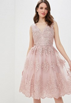 8a47d4ac29f20e8 Платье, Chi Chi London, цвет: бежевый. Артикул: CH041EWEWQB7. Одежда /