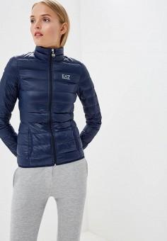 Пуховик, EA7, цвет: синий. Артикул: EA002EWJXT79. Premium / Одежда / Верхняя одежда