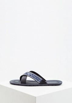 Сланцы, Emporio Armani, цвет  черный. Артикул  EM598AMDPVS7. Обувь    Резиновая b91bef63e5b